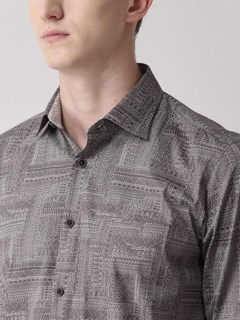 Grey Slim Fit Printed Club Wear Shirt close view