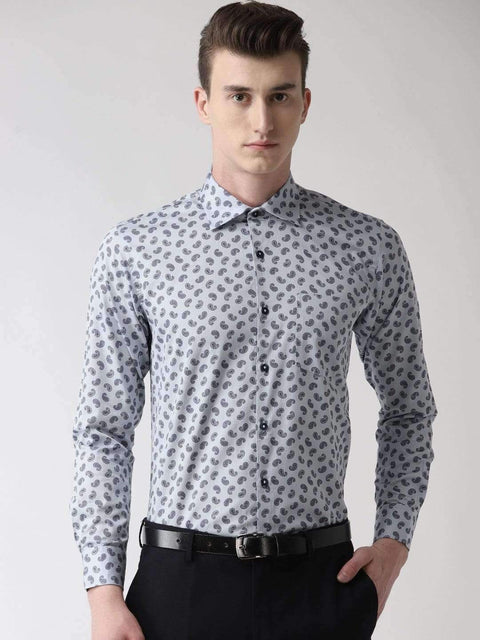 Light Grey Printed Club Wear Shirt