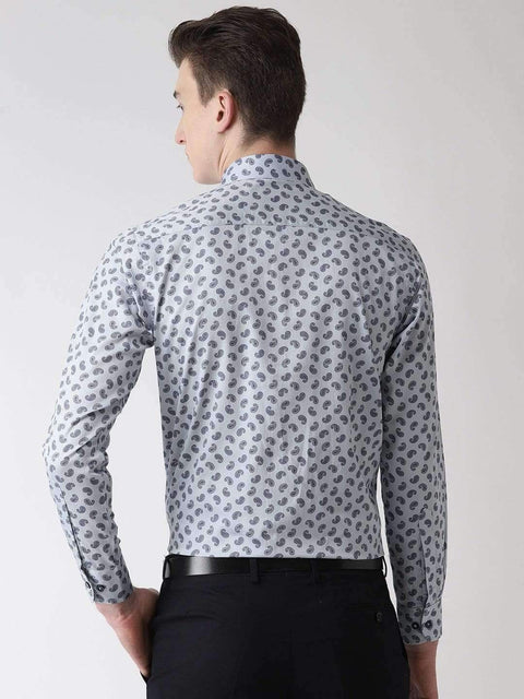 Light Grey Printed Club Wear Shirt back view