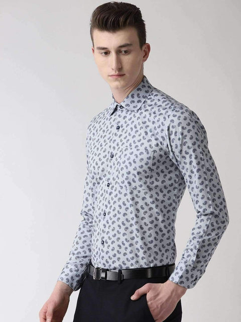 Light Grey Printed Club Wear Shirt side view