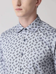 Light Grey Printed Club Wear Shirt for men