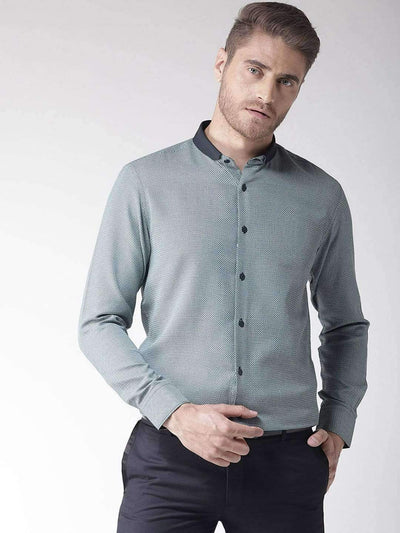 Richlook Blue & Green Regular Fit Club Wear Shirt