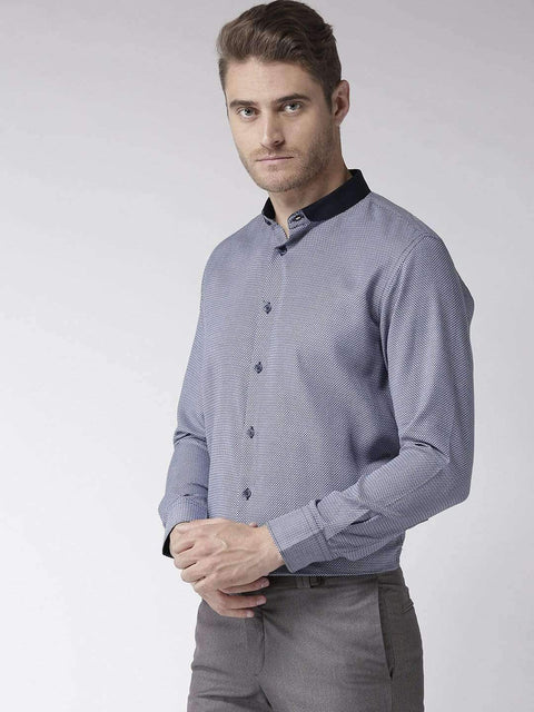 Richlook Blue & White Regular Fit Club Wear Shirt
