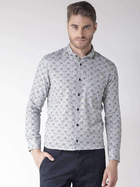 Richlook Grey Regular Fit Club Wear Shirt