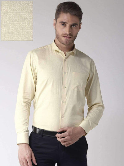 Richlook Light Yellow Regular Fit Club Wear Shirt