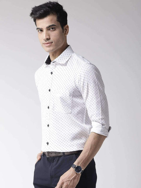 Richlook Club Wear Shirt Richlook White & Blue Regular Fit Club Wear Shirt