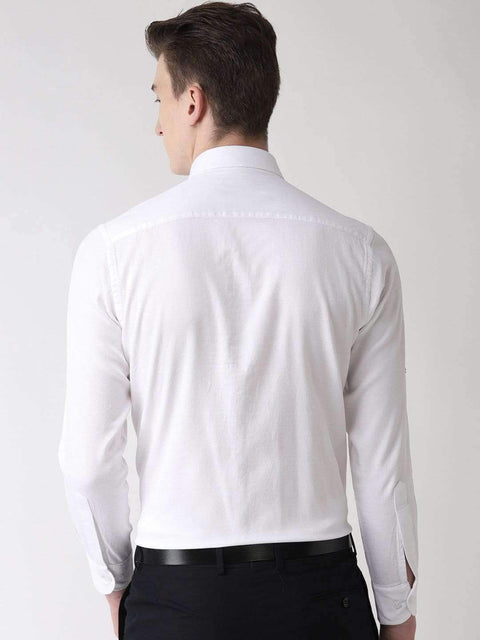 White solid Club Wear Shirt back view