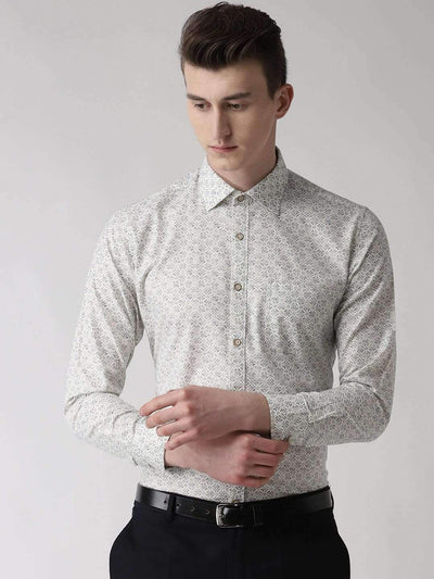 White Slim Fit Printed Club Wear Shirt