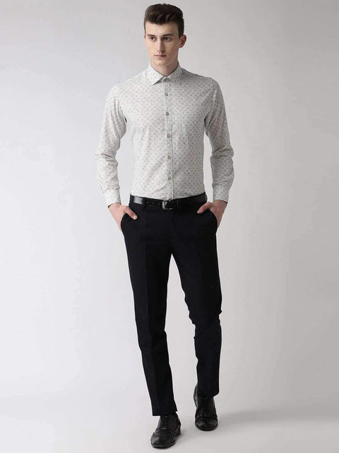White Slim Fit Printed Club Wear Shirt full view