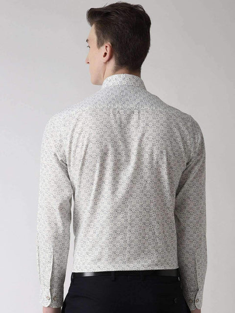 White Slim Fit Printed Club Wear Shirt Back view