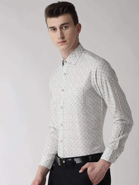 White Slim Fit Printed Club Wear Shirt side view