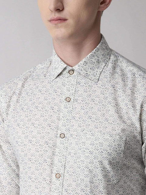 White Slim Fit Printed Club Wear Shirt close view