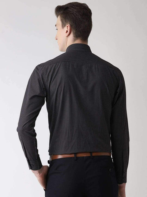 Black Checks Formal Shirt back view