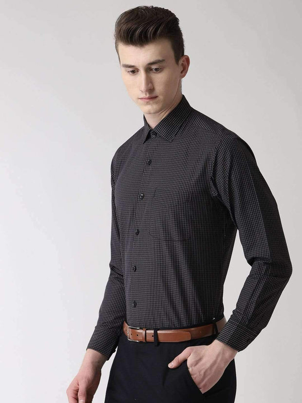 Black Checks Formal Shirt side view