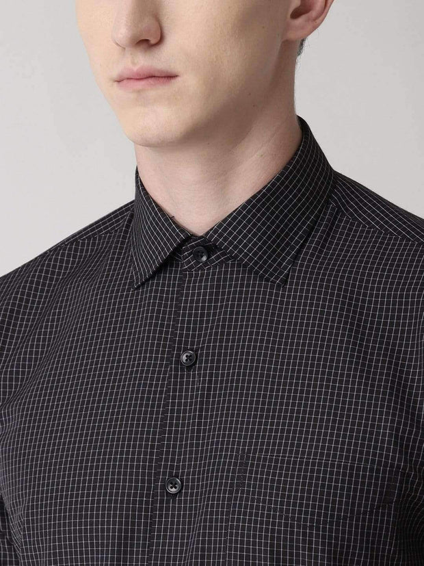 Black Checks Formal Shirt for men