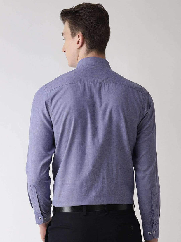 Blue Micro Checks Formal Shirt Back view