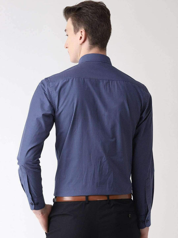 Blue Checkered Formal Shirt back view