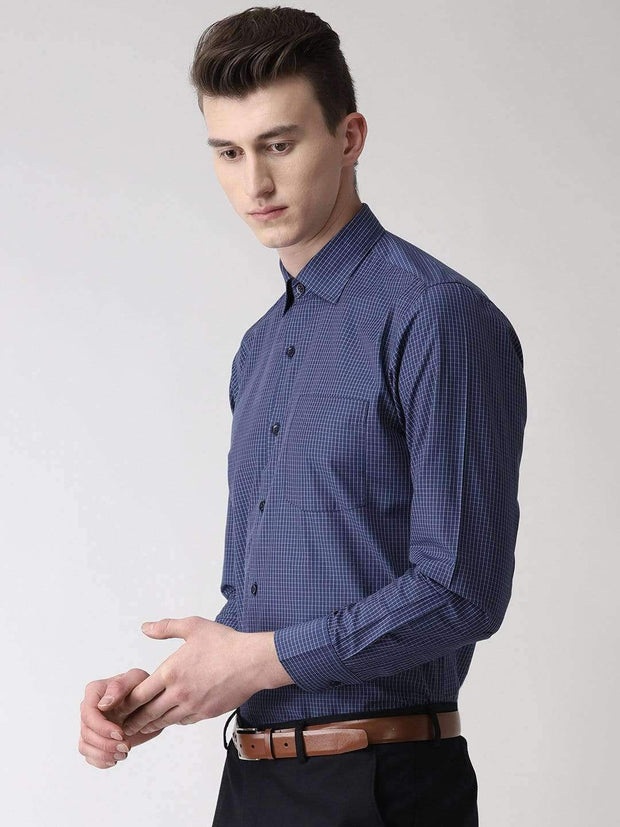 Blue Checkered Formal Shirt side view