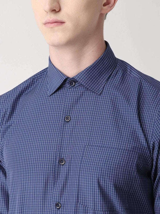 Blue Checkered Formal Shirt for Men