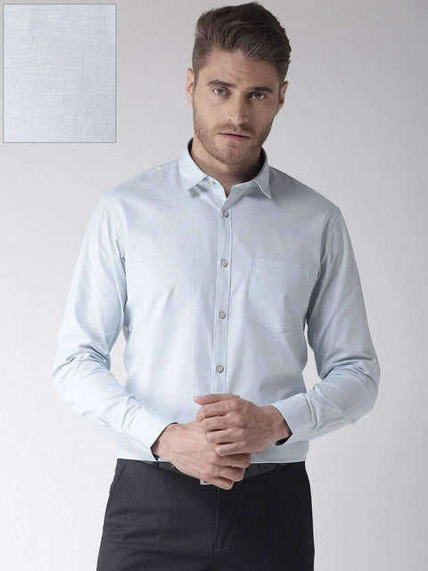 Men Blue Slim Fit Solid Casual Shirt