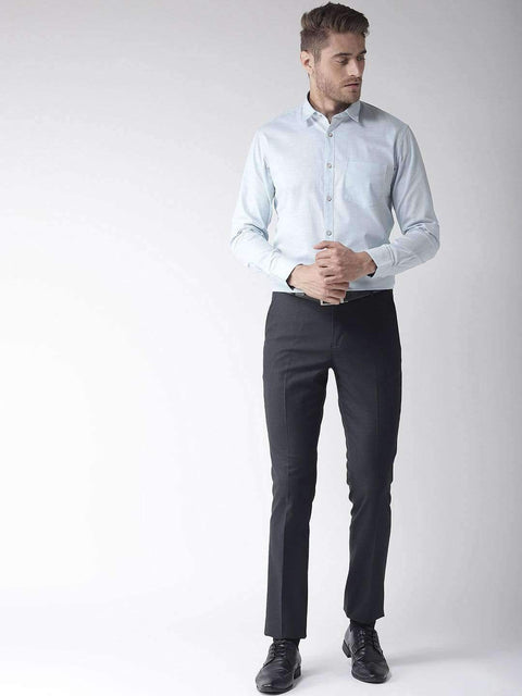 Blue Slim Fit Solid Formal Shirt full view