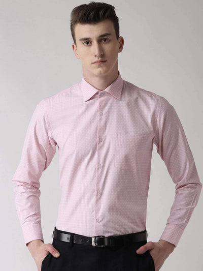 Pink Checkered Regular Fit Formal Shirt