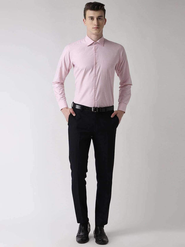 Pink Checkered Regular Fit Formal Shirt full view