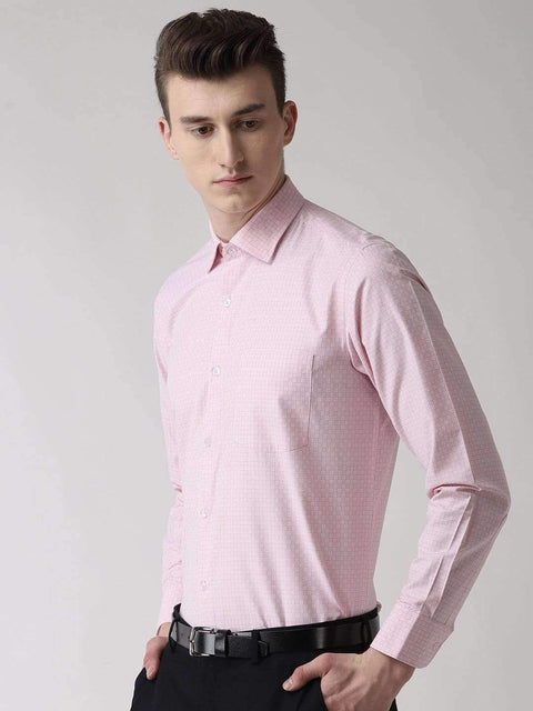 Pink Checkered Regular Fit Formal Shirt side view