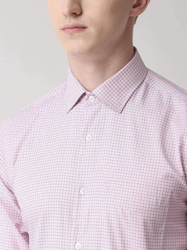 Richlook Formal Shirt Pink Regular Fit Checkered Formal Shirt