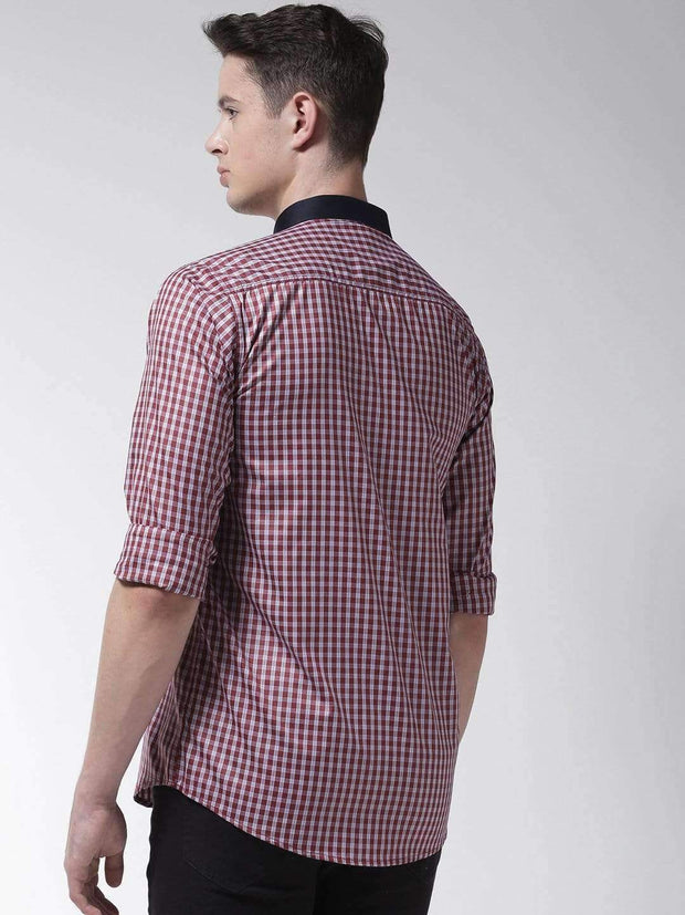 Red Regular Fit Formal Shirt Back view