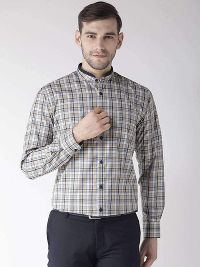 Richlook Blue & Cream Regular Fit Formal Shirt