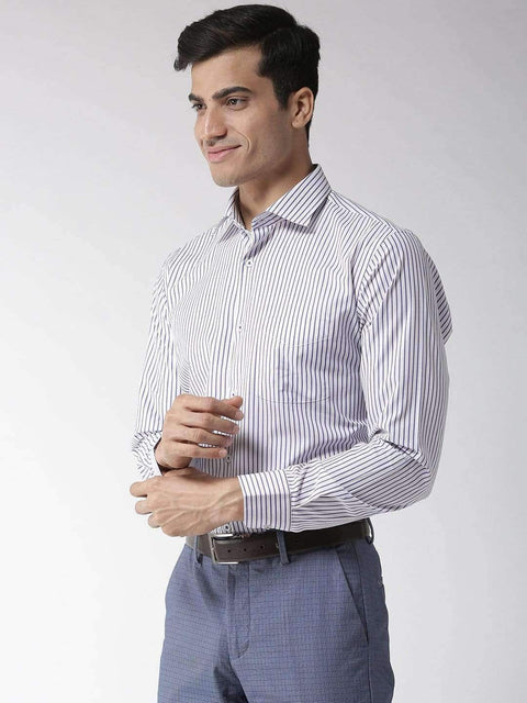 Richlook Blue & White Regular Fit Formal Shirt
