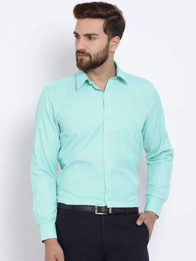 Richlook Men Turquoise Blue Regular Fit Striped Formal Shirt