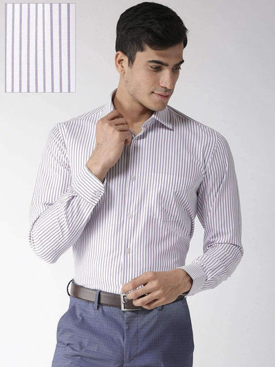 Richlook Formal Shirt Richlook Purple & White Regular Fit Formal Shirt