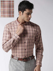 Richlook Formal Shirt Richlook Red & Cream Regular Fit Formal Shirt