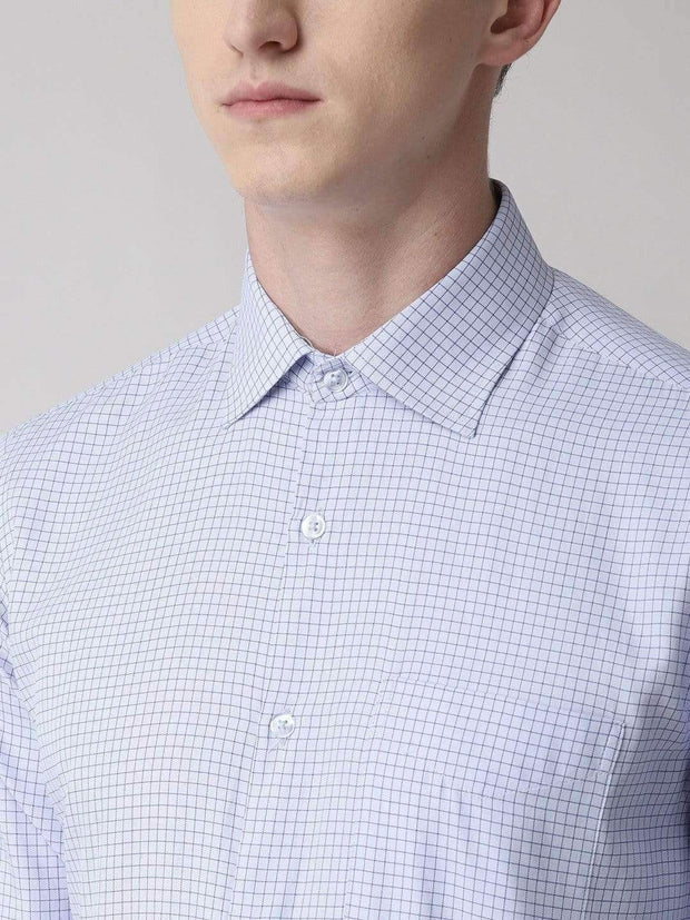 Richlook Formal Shirt Sky Blue Regular Fit Checkered Formal Shirt