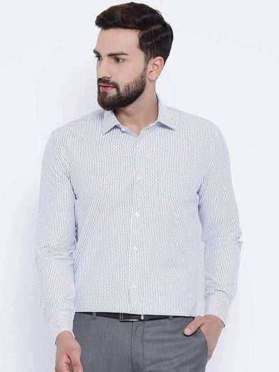 Richlook Formal Shirts Richlook White & Blue Formal Regular Fit Shirt