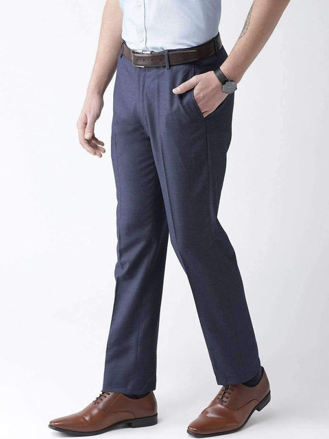 Blue Formal Smart Fit Trouser side view