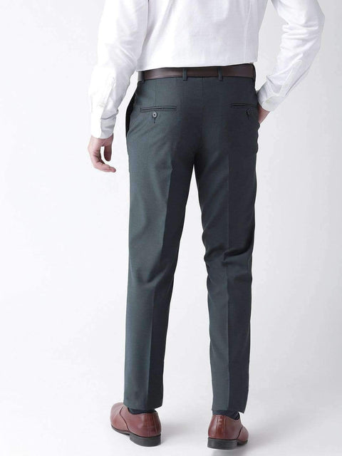 Grey Blue Formal Smart Fit Trouser Back view