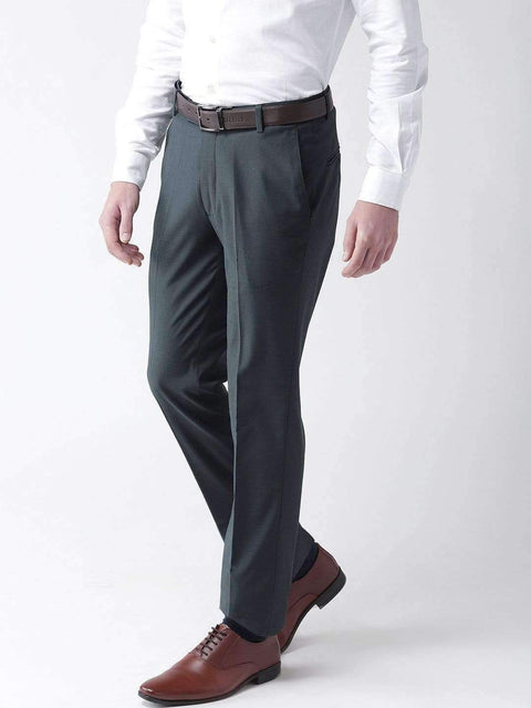 Grey Blue Formal Smart Fit Trouser side view