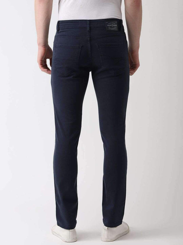 Navy Blue Slim Fit Jeans back view