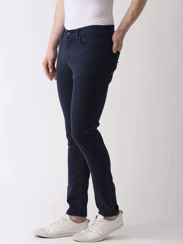 Navy Blue Slim Fit Jeans side view