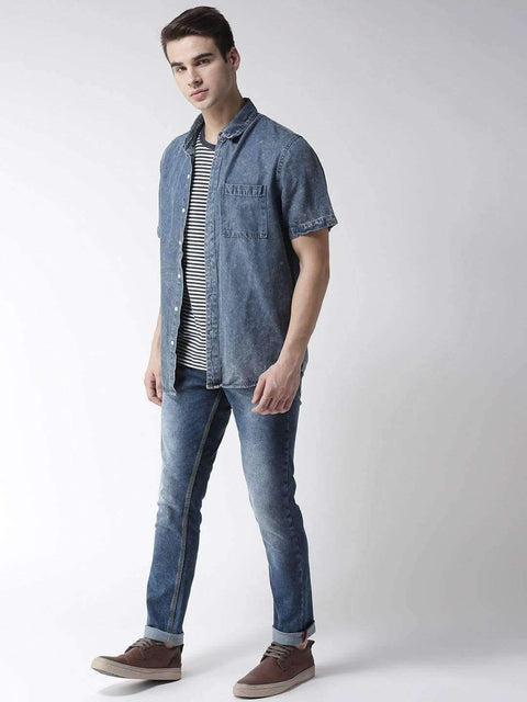 Blue Casual Slim Fit Jeans for Men