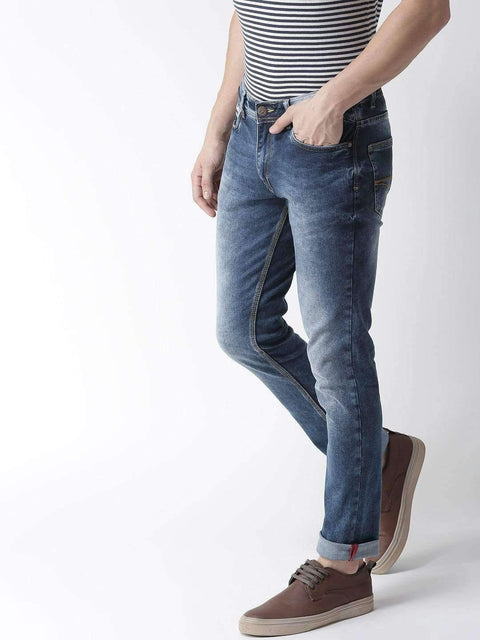 Blue Casual Slim Fit Jeans side view