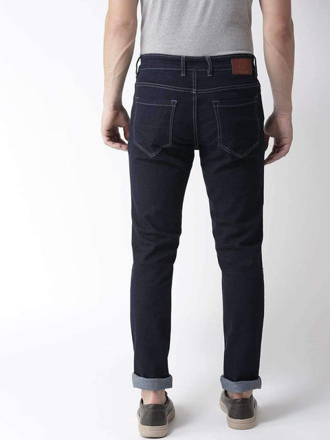 Blue Casual Slim Fit Jeans back view