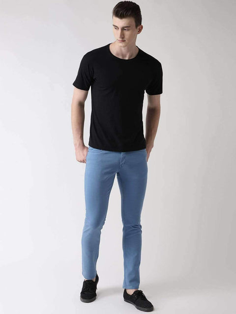 Sky Blue Slim Fit Jeans for Men