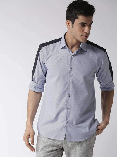 Men Blue & White Regular Fit Self Design Smart Casual Shirt
