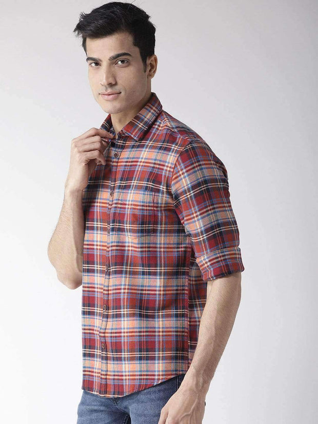 Richlook Men Maroon & Beige Regular Fit Checked Casual Shirt