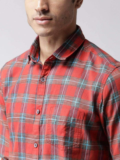 Red & Blue Slim Casual Shirt close view