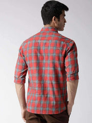 Red & Blue Slim Casual Shirt back view
